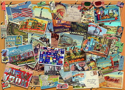 Collages Drawing - Postcard Usa by Garry Walton