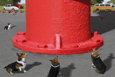 Dogs Digital Art - Postcards From Otis - The Hydrant by Mike McGlothlen