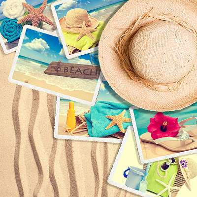 Postcards In The Sand Art Print by Amanda Elwell
