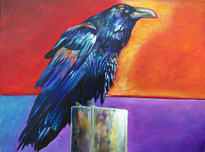 Raven Painting - Posted Raven by Robert Pankey