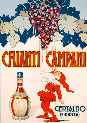 Wine Grapes Drawing - Poster Advertising Chianti Campani by Necchi