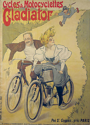 Bicycle Drawing - Poster Advertising Gladiator Bicycles And Motorcycles by Ferdinand Misti-Mifliez