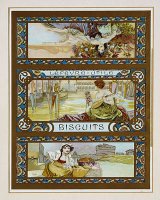 Venice Art Photograph - Poster Advertising Lefevre-utile Biscuits, C.1910 Colour Litho by Alphonse Marie Mucha