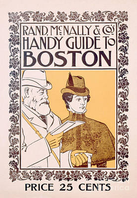 Massachussetts Painting - Poster Advertising Rand Mcnally And Co's Hand Guide To Boston by American School