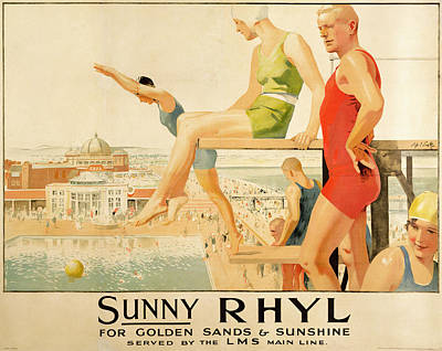 Poster Advertising Sunny Rhyl  Art Print by Septimus Edwin Scott