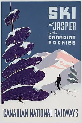 Ski Resort Painting - Poster Advertising The Canadian Ski Resort Jasper by Canadian School