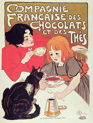 Coffee Drawing - Poster Advertising The Compagnie Francaise Des Chocolats Et Des Thes by Theophile Alexandre Steinlen