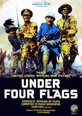 Wwi Drawing - Poster Advertising The Film Under Four by Philip Martiny