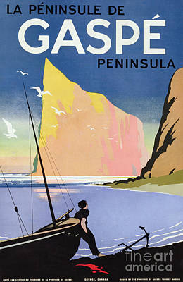 Beach Landscape Drawing - Poster Advertising The Gaspe Peninsula Quebec Canada by Canadian School