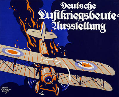 Wwi Drawing - Poster Advertising The German Air War by Siegmund von Suchodolski