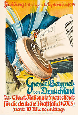 Car Drawing - Poster Advertising The Grosser Bergpreis Grand Prix by German School