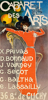 Night Club Painting - Poster For Cabaret Des Arts by Charles Lucas
