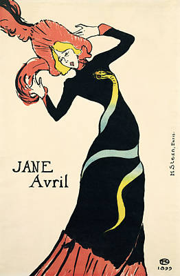 Drawing - Poster For Jane Avril, 1899 by Henri de Toulouse-Lautrec