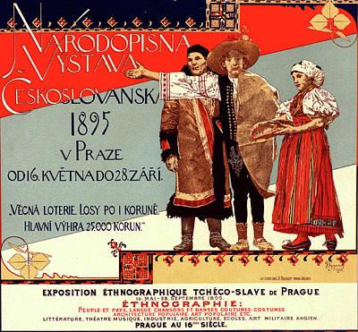 Prague Drawing - Poster For L Exposition Ethnographique Tchèco-slave De by Liszt Collection