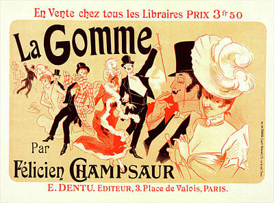 Novel Painting - Poster For La Gomme. Novel By By Felicien Champsaur by Liszt Collection