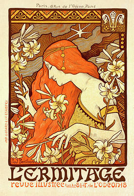 Lily Drawing - Poster For La Revue LÉrmitage by Liszt Collection