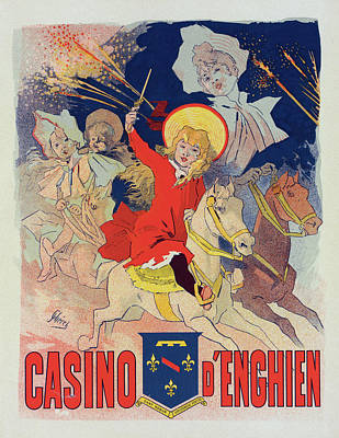 Fireworks Painting - Poster For Le Casino Denghien. Chéret, Jules 1836-1932 by Liszt Collection