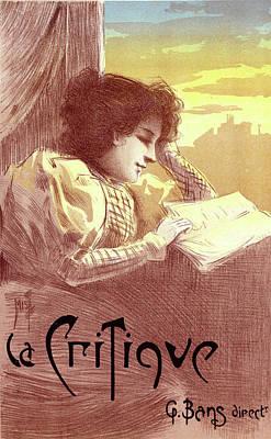 Critique Painting - Poster For Le Journal La Critique. Ferdinand Mifliez by Liszt Collection
