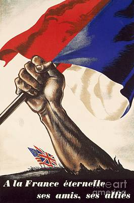 Freedom Drawing - Poster For Liberation Of France From World War II 1944 by Anonymous