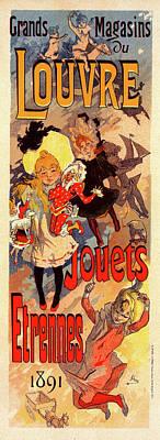 Poster For Magasins Du Louvre. Chéret, Jules 1836-1932 Art Print by Liszt Collection