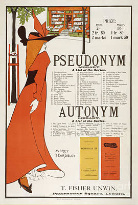 Library Painting - Poster For 'the Pseudonym And Autonym Libraries' by Aubrey Beardsley