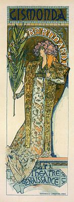 Mucha Drawing - Poster For The Théâtre De La Renaissance by Liszt Collection