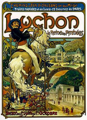 Horseman Drawing - Poster For Trains To Luchon by Alphonse Marie Mucha