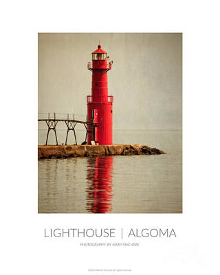 Jetty Digital Art - Poster - Lighthouse In Algoma by Mary Machare