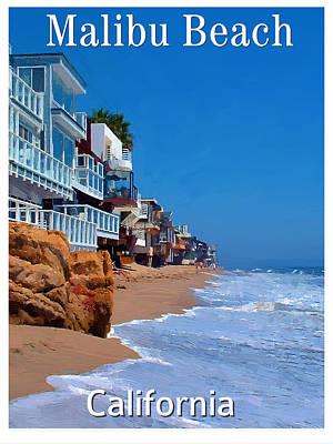 Malibu Mixed Media - Poster Of Malibu Beach by Bob Sandler