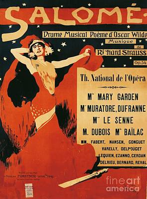 1949 Drawing - Poster Of Opera Salome by Richard Strauss