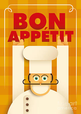 Digital Art - Poster With A Comic Chef. Vector by Radoman Durkovic