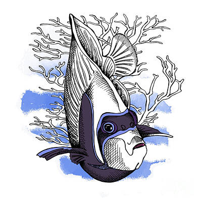 Angelfish Wall Art - Digital Art - Poster With Image Of Fish Emperor by Afishka