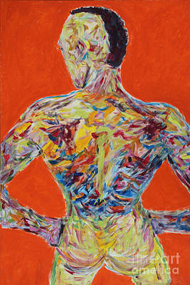 Male Painting - posterior view - Rueckenansicht 2581 by Lars  Deike