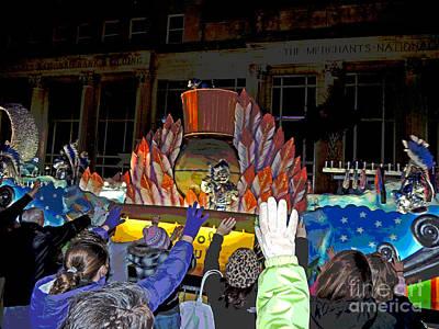 Spirit Of Mardi Gras Digital Art - Posterized Crewe Of Columbus Emblem Float by Marian Bell