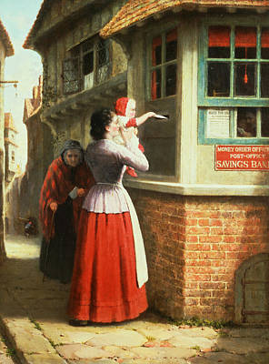 Old Lady Painting - Posting A Letter, 1879 by Frederick Daniel Hardy