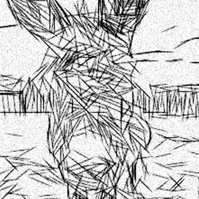 Crazy Horse Drawing - Postmodern Donkey by Jonathan Harnisch