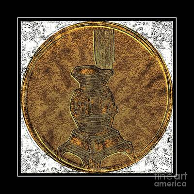 Brass Etching Photograph - Pot-belly Stove - Brass Etching by Barbara Griffin