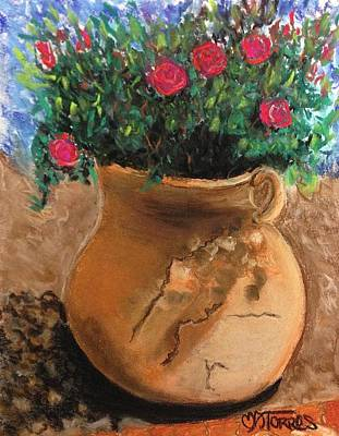 Pot Full Of Roses Art Print