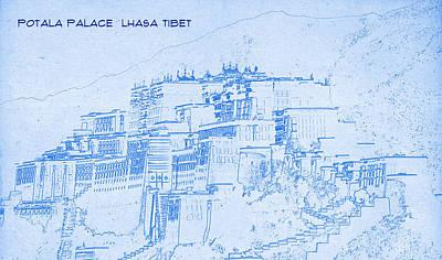 Potala Palace  Lhasa Tibet  - Blueprint Drawing Art Print by MotionAge Designs