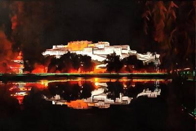 Digital Manipulation Painting - Potala Palace Night View by Mario Carini