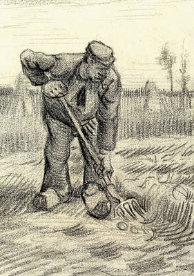 Worker Painting - Potato Gatherer by Vincent Van Gogh