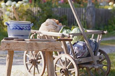 Potatoes And Cabbages In Cart, Crock And Shredder For Sauerkraut Art Print