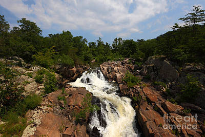 Waterfalls And Trees Landscape Photograph - Potomac River Great Falls by James Brunker