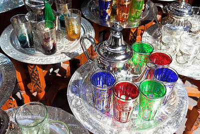 Pots Of Mint Tea And Glasses, The Souk Art Print by Peter Adams