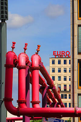 Photograph - Potsdamer Platz Pink Pipes In Berlin by Ben and Raisa Gertsberg