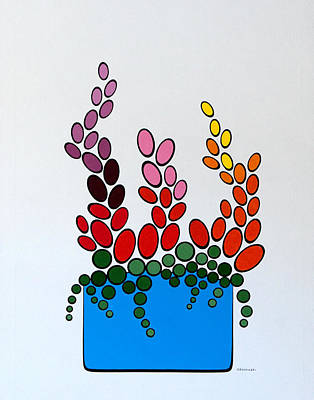 Art Print featuring the painting Potted Blooms - Blue by Thomas Gronowski