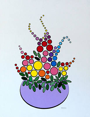 Art Print featuring the painting Potted Blooms - Lavendar by Thomas Gronowski