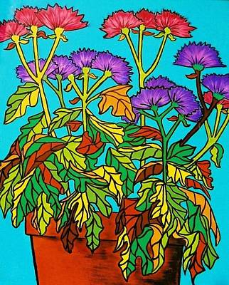 Painting - Potted Mums by Joan-Violet Stretch