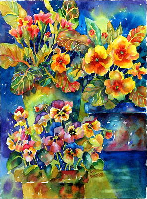 Terra Painting - Potted Pansies  by Ann  Nicholson