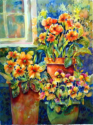 Terra Painting - Potted Pansies II by Ann  Nicholson